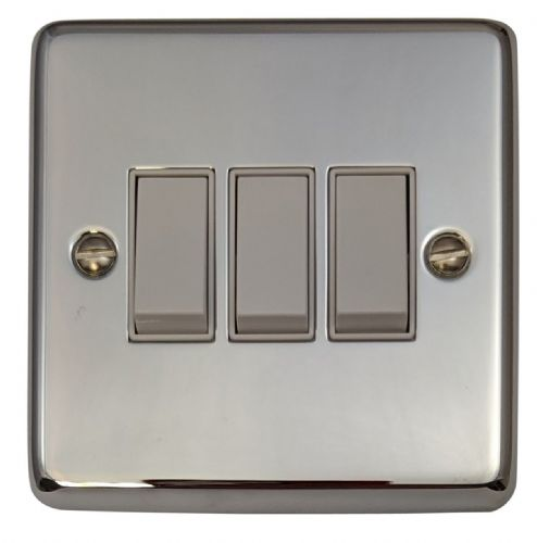 G&H CC3W Standard Plate Polished Chrome 3 Gang 1 or 2 Way Rocker Light Switch